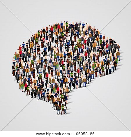 Large group of people in the brain sign shape