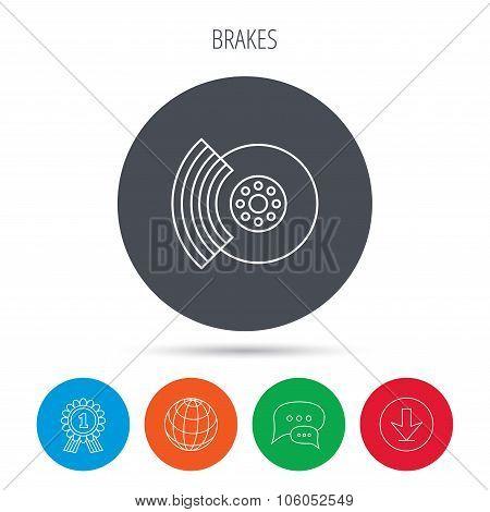 Brakes icon. Auto disk repair sign.
