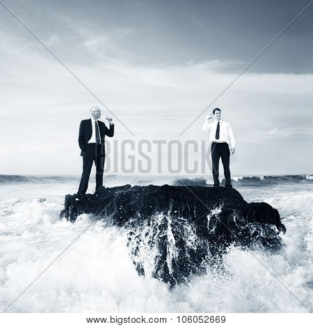 Two Business Men Talking Tin Phone Ocean Concept