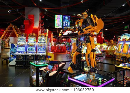 SHENZHEN, CHINA - OCTOBER 13, 2015: game club interior. Shenzhen is a major city in the south of Southern China's Guangdong Province, situated immediately north of Hong Kong