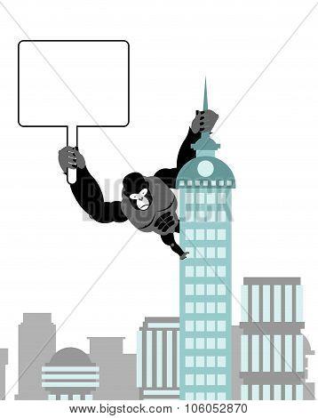 Gorilla Holding Blank Worksheet, Nameplate. Wild Strong Monkey On Public Building. Big Scary Animal