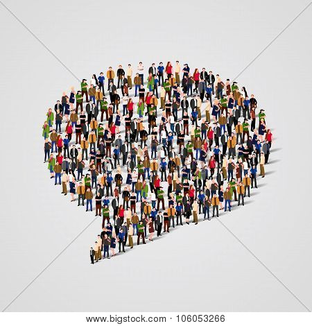 Large group of people in the chat bubble shape. Vector
