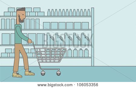 An african-american hipster man with beard pushing an empty cart in supermarket. Vector line design illustration. Horizontal layout with a text space for a social media post.