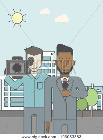 An asian cameraman filming an african-american reporter with beard on a city backgroung. Vector line design illustration. Vertical layout with a text space for a social media post.