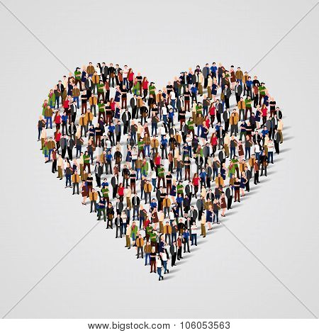 Large group of people in the heart sign  shape. Vector