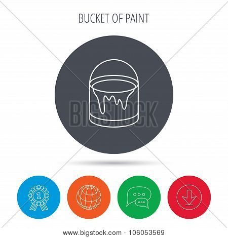Bucket of paint icon. Painting box sign.