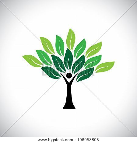 People Tree Icon With Colorful Leaves - Eco Concept Vector