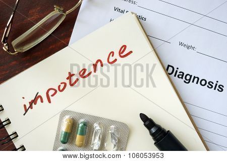 Notepad with impotence and pills