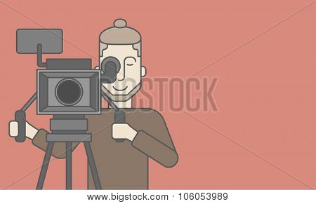 A caucasian cameraman with beard looking through movie camera on a tripod. Vector line design illustration. Horizontal layout with a text space for a social media post.