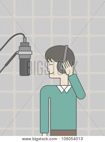 A cheerful asian singer in studio makes a record of his voice in microphone. Vector line design illustration. Vertical layout with a text space for a social media post.