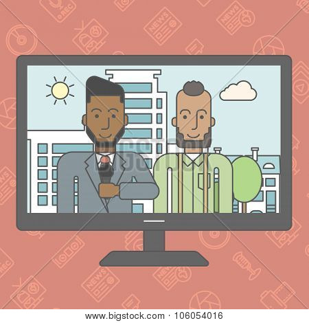 Television set broadcasting the news with an african-american reporter interviewing a man. Vector line design illustration. Square layout.