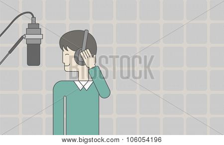 Cheerful asian singer in studio makes a record of his voice in microphone. Vector line design illustration. Horizontal layout with a text space for a social media post.