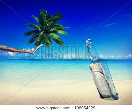 Message Bottle Beach Sending Information Letter Concept
