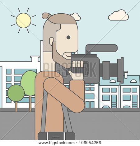 A caucasian hipster cameraman with video camera taking a video on a city background. Vector line design illustration. Square layout.