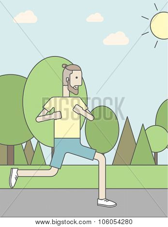 A caucasian hipster man with beard jogging in the park. Vector line design illustration. Vertical layout with a text space for a social media post.