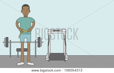A happy african-american man measures his waist. Vector line design illustration. Sport concept. Horizontal layout with a text space for a social media post.