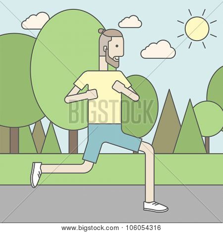 A caucasian hipster man with beard jogging in the park. Vector line design illustration. Square layout.