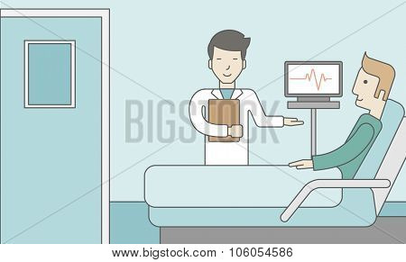 A smiling asian doctor visits a caucasian patient lying on bed in hospital ward, a monitor showing his heartbeat stands nearby.  Vector line design illustration. Horizontal layout with a text space