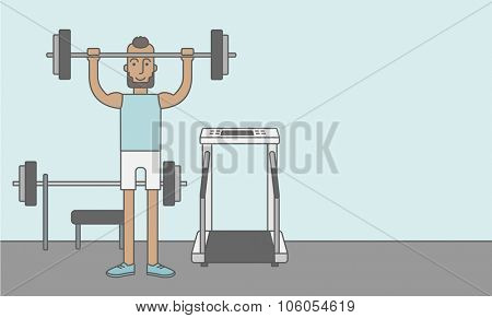 A happy caucasian hipster man with beard lifts weights in the gym. Vector line design illustration. Sport concept. Horizontal layout with a text space for a social media post.