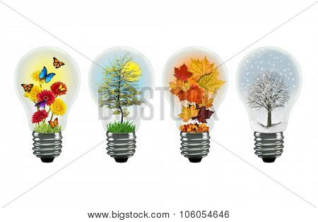 All the seasons shown in a separate lightbulb