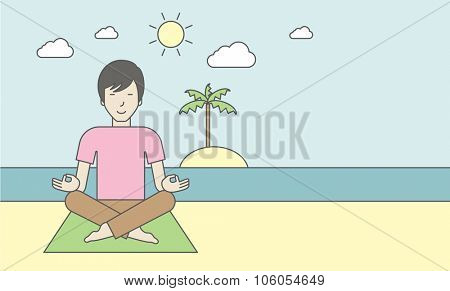 An asian man meditating in lotus pose on the beach. Vector line design illustration. Horizontal layout with a text space for a social media post.