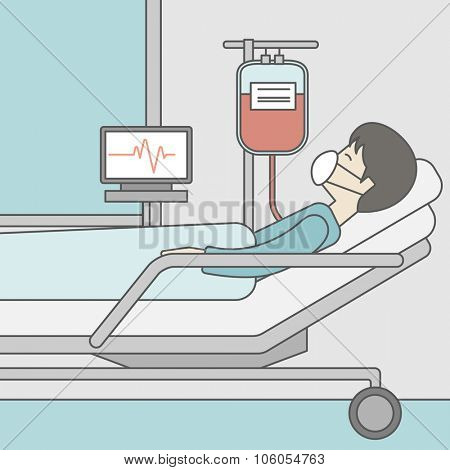 An asian patient lying in hospital bed with heart rate monitor and drop counter. Vector line design illustration. Square layout.