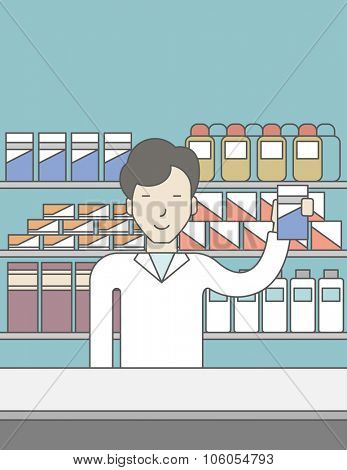 An asian pharmacist standing at the counter in a pharmacy and showing some medicine. Vector line design illustration. Vertical layout with a text space for a social media post.