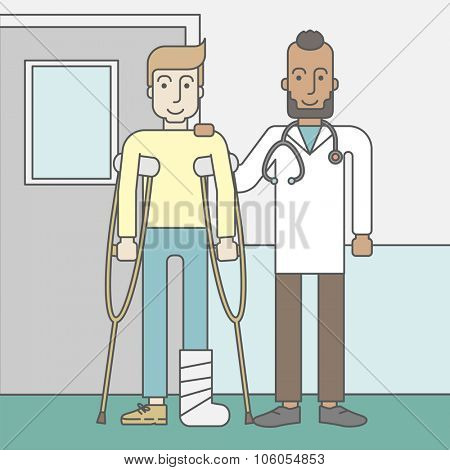 An injured caucasian man on crutches standing with a doctor on hospital wall background. Vector line design illustration. Square layout.
