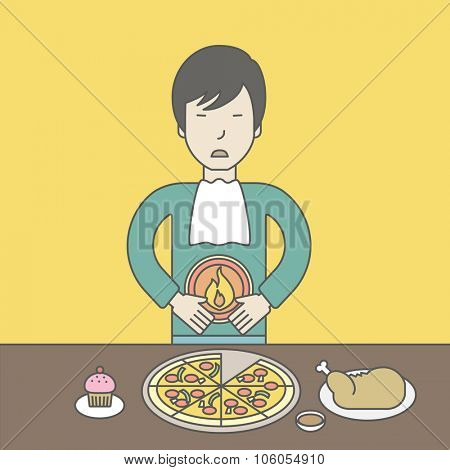 An asian man standing near the table with food suffering from heartburn. Vector line design illustration. Square layout.