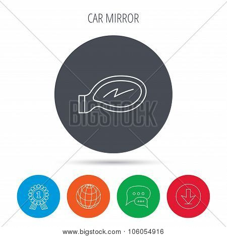 Car mirror icon. Driveway side view sign.
