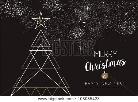 Merry Christmas Happy New Year Deco Tree Outline