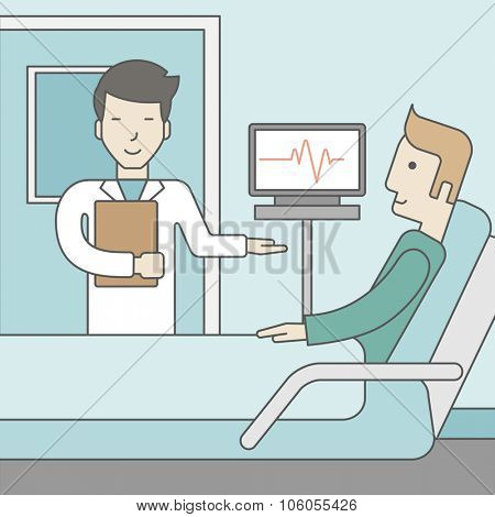 A smiling asian doctor visits a caucasian patient lying on bed in hospital ward, a monitor showing his heartbeat stands nearby.  Vector line design illustration. Square layout.