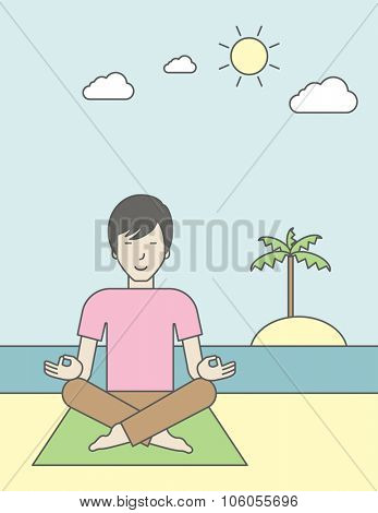 An asian man meditating in lotus pose on the beach. Vector line design illustration. Vertical layout with a text space for a social media post.