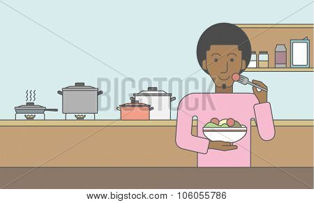 A smiling african-american man eating salad in the kitchen. Vector line design illustration. Lifestyle concept. Horizontal layout with a text space for a social media post.