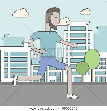 A caucasian hipster man with beard jogging on street. Vector line design illustration. Lifestyle concept. Square layout.