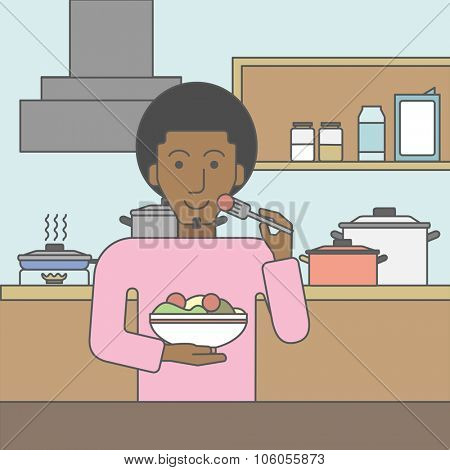 A smiling african-american man eating salad in the kitchen. Vector line design illustration. Lifestyle concept. Square layout.
