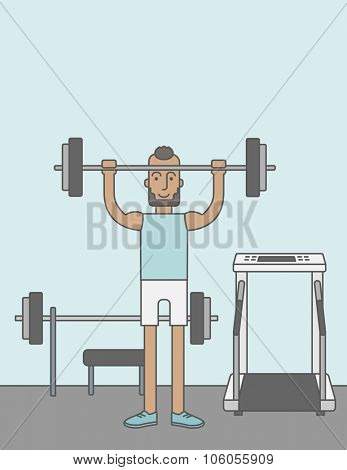 A happy caucasian hipster man with beard lifts weights in the gym. Vector line design illustration. Sport concept. Vertical layout with a text space for a social media post.