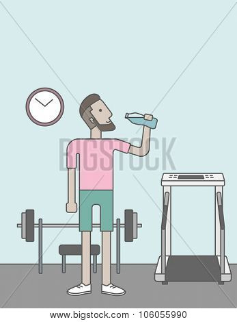 A caucasian hipster man drinking water in the gym. Vector line design illustration. Healthy, fitness concept.  Vertical layout with a text space for a social media post.