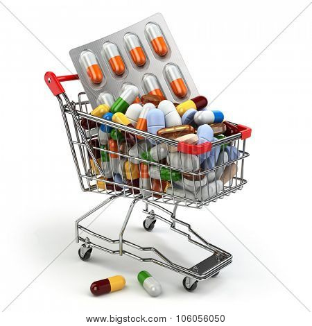Pharmacy medicine concept. Shopping cart with pills and capsules. 3d