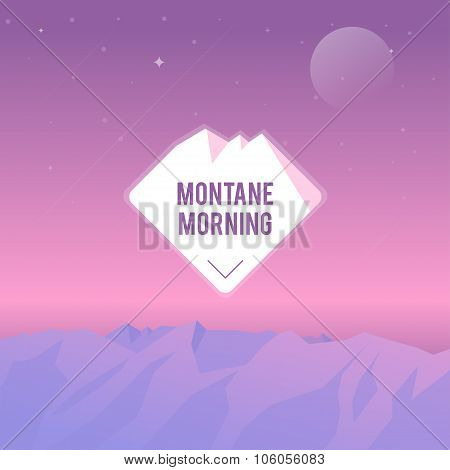 Illustration Mountain Summer Morning with icon.