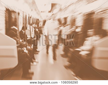 Japanese Commuters in Tokyo Abstract blurred Motion Concept