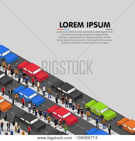 Cars standing in a traffic jam. Vector