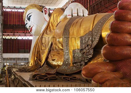 YANGON, MYANMAR - MARCH 28: Chauk Htat Gyi Reclining Buddha sweet eye buddha Yangon Myanmar 28 March 2015.