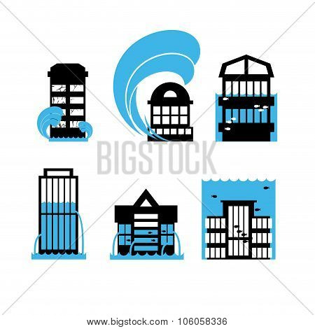 Flood And Tsunami Icons Set Houses. Flooding Of Buildings. Public Structures In Water. Flooded Skysc