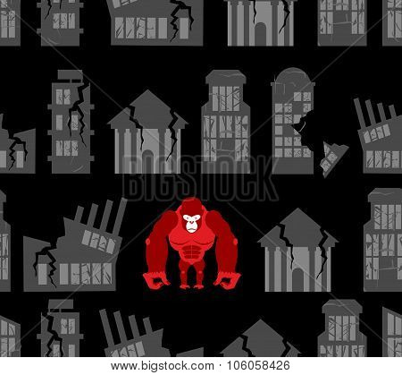 Monkey Destroyer In Town. Angry Gorilla Broke Homes And Buildings. Seamless Pattern Devastation. Bac