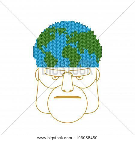 Hat Planet Earth. Knitted Cap In Shape Of Globe Of World. Concept Of Headgear
