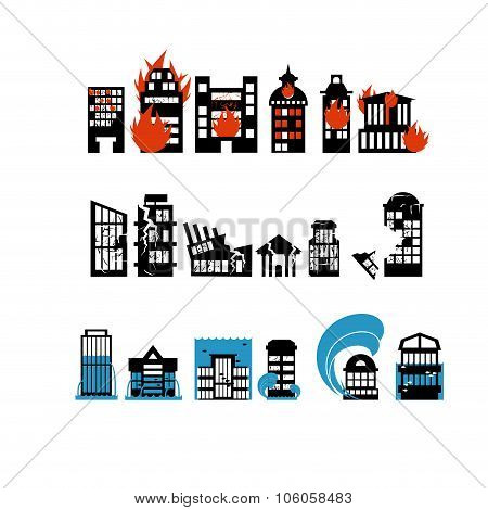 Silhouettes Of Buildings From Natural Disasters. Destruction Of City. Flooding And Fire. Consequence