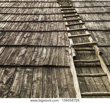 Old Wooden Staircase On Wooden Roof.useful As Background