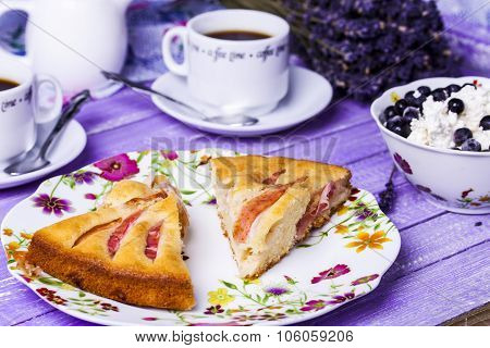 Apple Pie, Cottage Cheese With Blueberries And Coffee