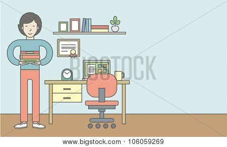 An asian pupil with books in the room with equipped working place. Vector line design illustration. Horizontal layout with a text space for a social media post.